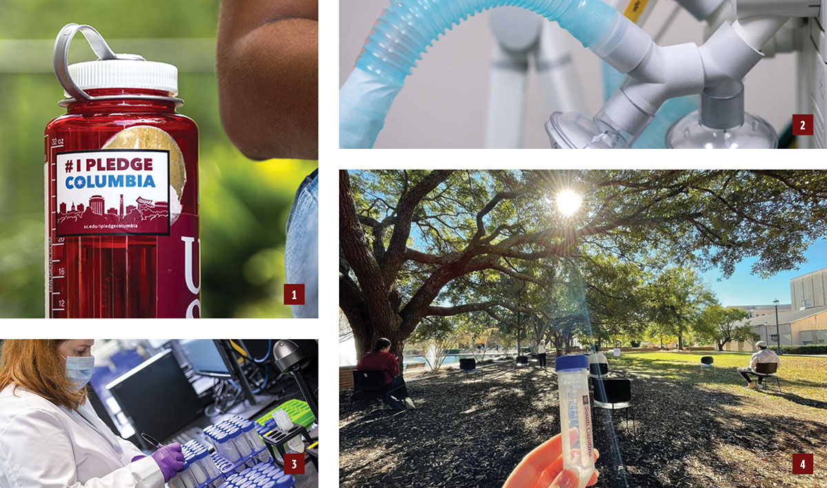 1. waterbottle with #IPledgeColumbia sticker, 2. VESper ventelator component, 3. person working in a lab with test tubes, 4. COVID-19 saliva test tube at the outdoor SAFE Testing site.