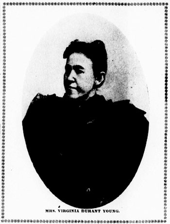 1903 State newspaper clipping of image of Virginia Durant Young wearing a black top