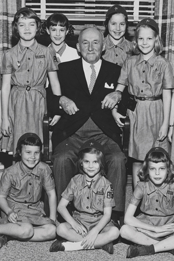 President Sumwalt with Brownie Scouts