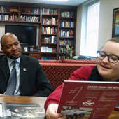 Preston Residential College Principal Bobby Donaldson strategizes with social work sophomore Allison Ryan, one of Preston's resident mentors.