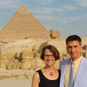 Alumni Amy Coquillard and David Chadwell, a librarian and curriculum coordinator, respectively, at Cairo American College, spend graduation day at the pyramids.