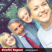President Pastides snaps a selfie with some UofSC students