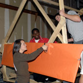 students work together to build the Clemson tiger effigy
