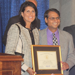 Gov Nikki Haley and Milind Kunchur